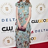 Wearing a tiered floral gown at the Brass Ring Awards Dinner in 2017.
