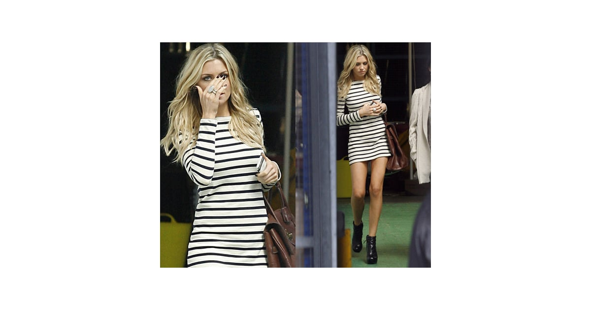 Photos of abbey clancy leaving itv in nautical striped for Clancy motors used cars