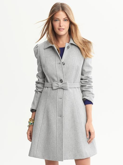 This Banana Republic Gray Fit-and-Flare Bow Coat ($250) is the perfect piece to top off your evening-out looks.