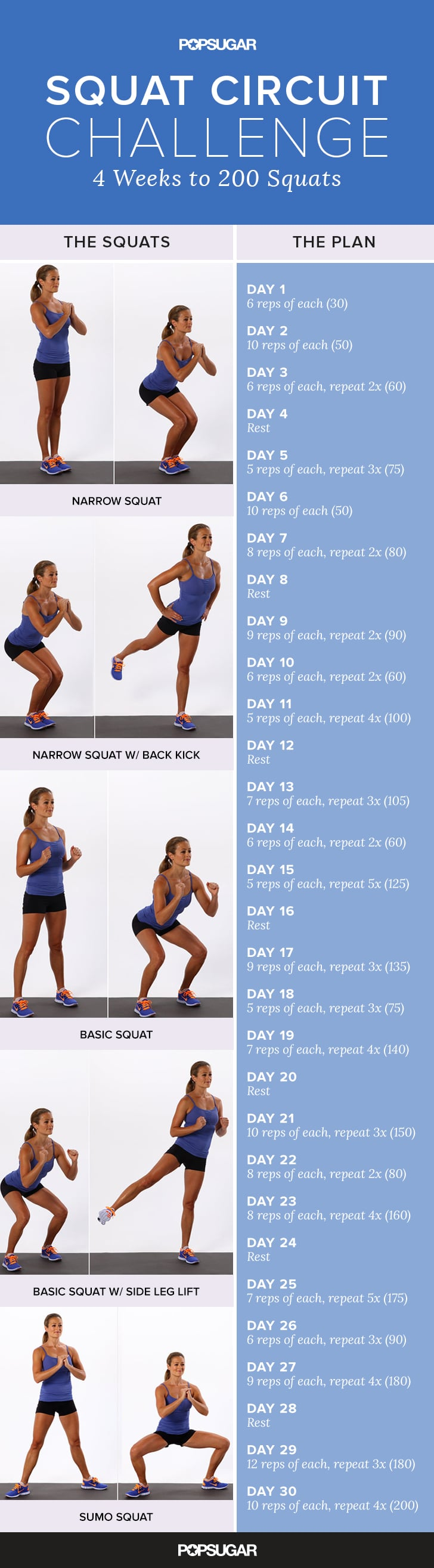 picture regarding 30 Day Squat Challenge Printable named Printable Squat Issue POPSUGAR Health and fitness