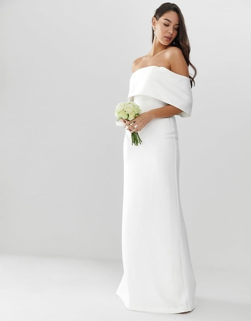 Asos Edition Crepe Off-the-Shoulder Wedding Column Dress