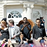 Jessica Chastain, Martin Short, Chris Rock, Ben Stiller, and David Schwimmer got together for a Madagascar 3 photo shoot.