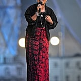 Emeli Sande wore an Alexander McQueen skirt and Prada brogues for her first performance.