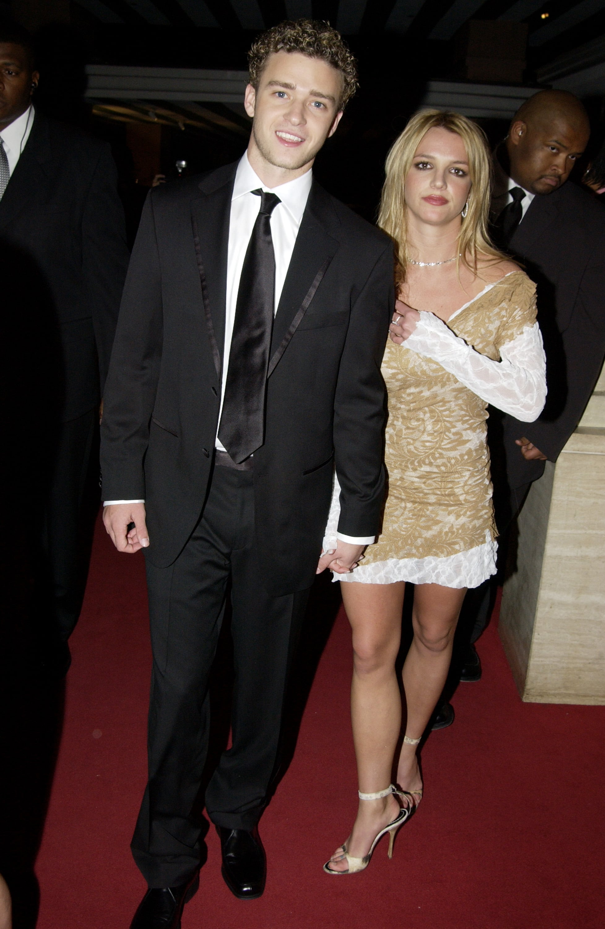 Justin hit the town with then-girlfriend Britney Spears in a black suit-and-tie look back in 2002.