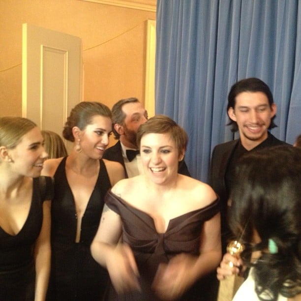 Lena Dunham and the cast of Girls celebrated their Golden Globes win. Source: Instagram user goldenglobes