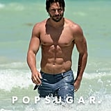Joe Manganiello went shirtless in Miami.