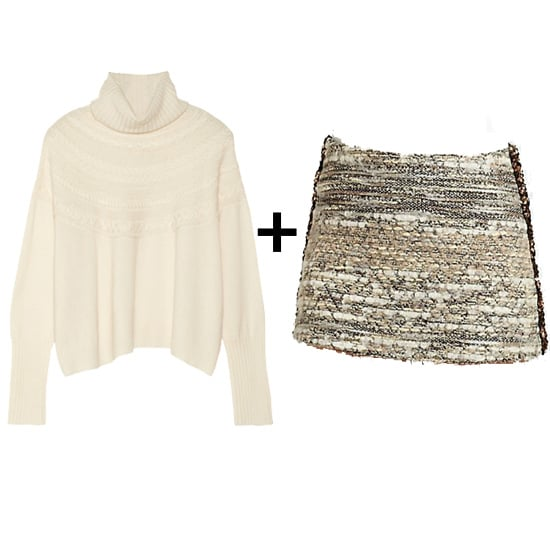 There's nothing we love more than a fashion contradiction, like a miniskirt with a chunky knit turtleneck. Finish off with chunky booties and tights for an even cozier feel.  Get the look: Qi cashmere turtleneck ($220, originally $440) Gryphon embellished tweed skirt ($219, originally $365)