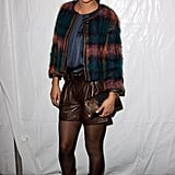Jessica Szohr worked the leather shorts trend at Tommy Hilfiger.