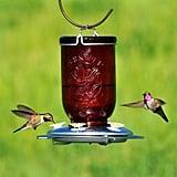 Perky-Pet Red Mason Jar Decorative Glass Hummingbird Feeder
