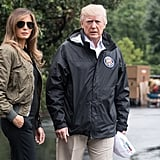 When Melania sparked outrage for wearing Manolo Blahnik heels to visit victims of Hurricane Harvey in Texas in August 2017, she was wearing a slick green bomber jacket and her gold-rimmed aviators.