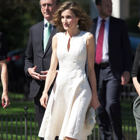 Queen Letizia's White Embroidered Dress July 2016
