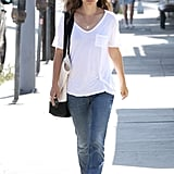 Natalie Portman wore a white t-shirt and sunglasses.