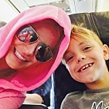 Brit snapped an airplane selfie with Jayden on their way to Hawaii in July 2015.