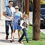 The couple took Deacon to an LA church in March 2012.