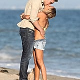 Ashley Tisdale and Scott Speer showed PDA on the beach in Malibu.