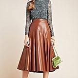 Maeve Mariska Faux Leather Midi Skirt