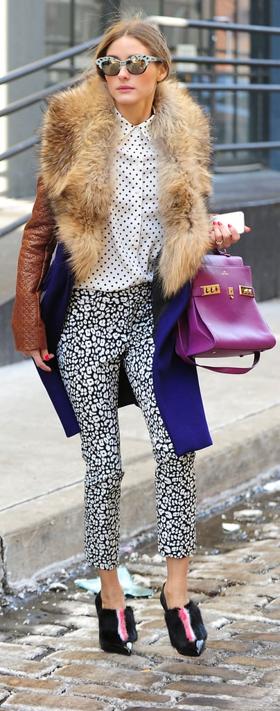 Olivia is the master of mixing high and low fashion. These pants are actually from Banana Republic.