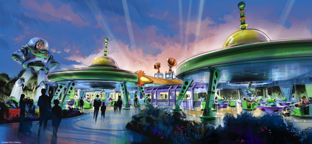 A mock-up of the the Alien Swirling Saucers ride from the walkways.