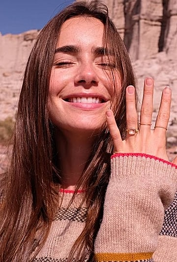 See Lily Collins's Stunning Engagement Ring   Photos