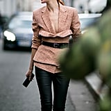 Try a bustier over a blazer to mix things up.