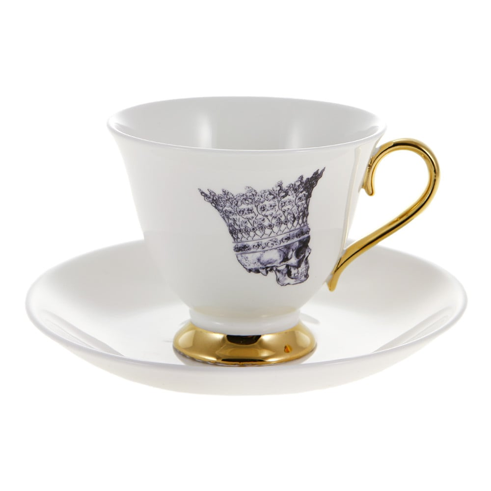 Melody Rose London Skull in Crown Teacup and Saucer, $67