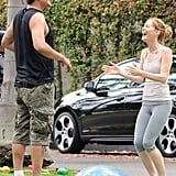 Jason Segel and Leslie Mann joked around between takes.