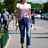 For a French-girl vibe, team a red and blue stripe with jeans a Mary-Janes.