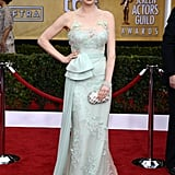 Ellie Kemper worked an embroidered seafoam Reem Acra number with Charlotte Olympia shoes and a crystal clutch.