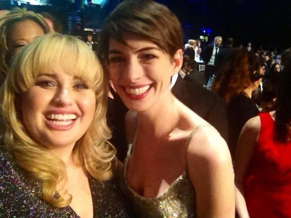 Rebel Wilson held her camera steady to score a picture with Anne Hathaway at the 2013 Critics' Choice Awards.