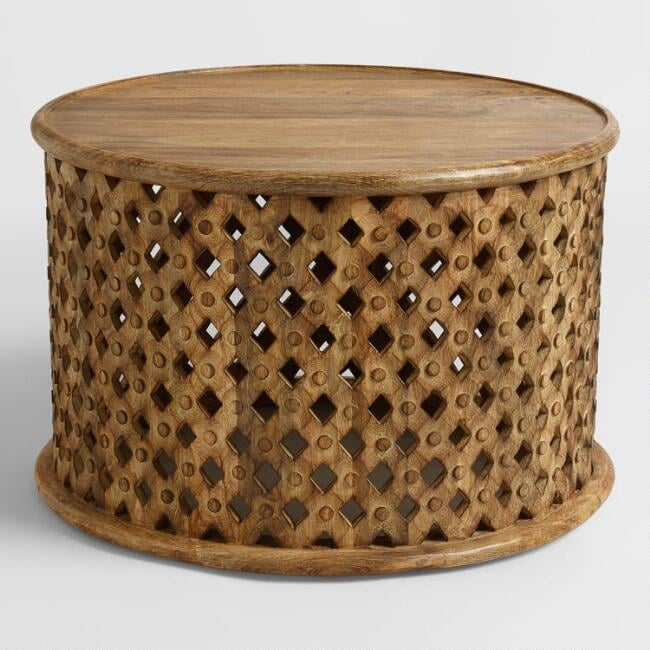 Round Tribal Carved-Wood Coffee Table