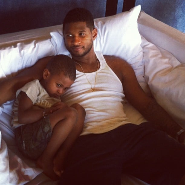 Usher cuddled with his son, Cinco. Source: Instagram user howuseeit