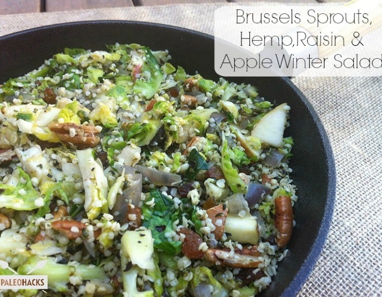 Brussels Sprouts, Hemp, Raisin & Apple Winter Salad