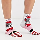 ASOS Design Holidays Cat in Elf Outfit Ankle Socks
