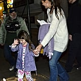 Katie Holmes takes Suri to dinner at ABC Kitchen in NYC.
