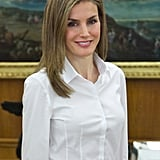 Queen Letizia of Spain posed at Zarzuela Palace in Madrid, Spain, on Monday.