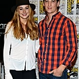 Shailene Woodley with Miles Teller at the Ender's Game and Divergent press line.