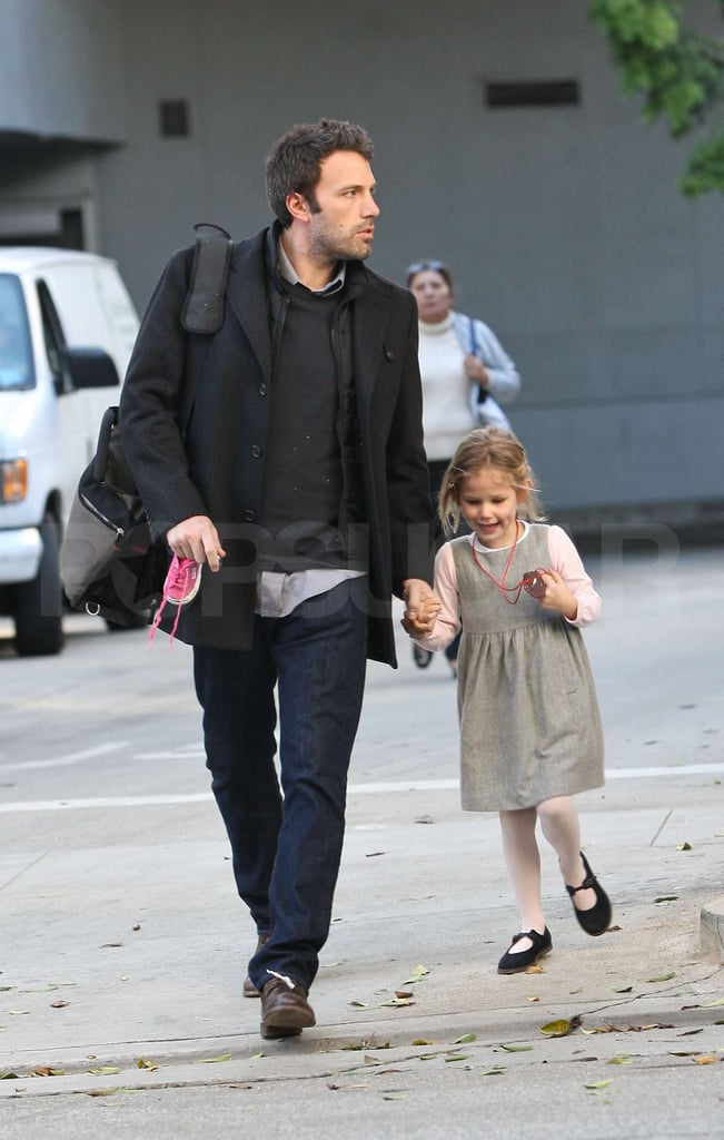 Ben Affleck and Jennifer Garner took care of their daughter duties together in LA yesterday. Violet, who was named Lil's most stylish tot of 2010, looked excited to tell dad about her Thursday at school while Seraphina once again sported her precious pigtails for the family day. The five-year-old isn't the only Garner-Affleck fashion star, since Jennifer's Golden Globe dress ranked among Fab's favorites of the year. Ben could be back on that red carpet next month, since the film he directed, The Town, earned a Best Supporting Actor Globe nomination. It's also ranked on a number of top ten lists and includes one of Buzz's favorite romances from the past 12 months of big screen releases.