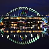 The Tyne Bridge displayed the Olympic rings in Newcastle upon Tyne, England.
