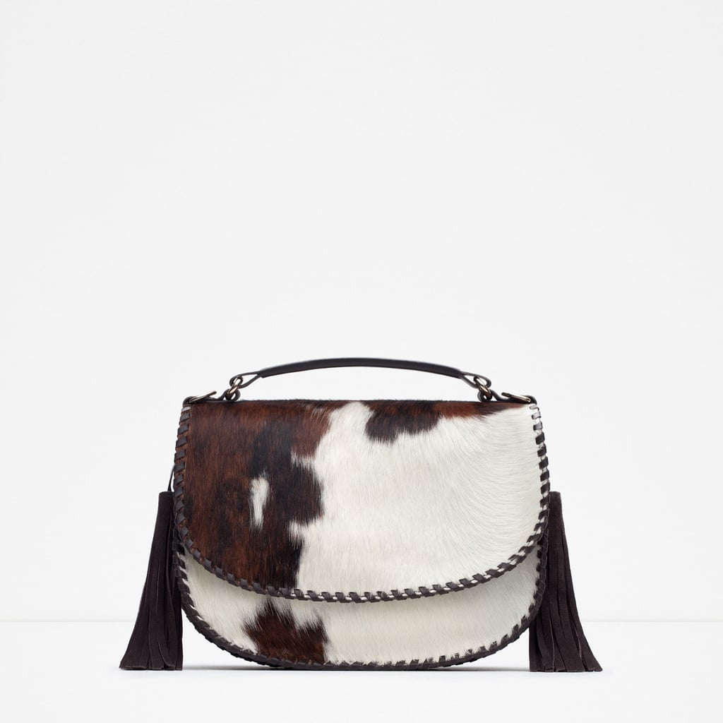 Zara Printed Leather Saddle Bag