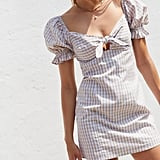 UO Katie Gingham Tie-Front Mini Dress