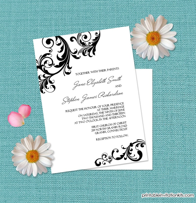 Swirls Border Wedding Invitation