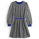 Contrast-Trim Dot Mini Dress