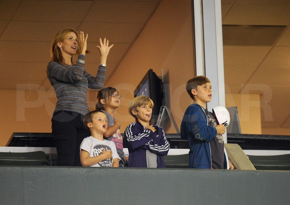 Cruz Beckham, Brooklyn Beckham, and Romeo Beckham sang the national anthem.