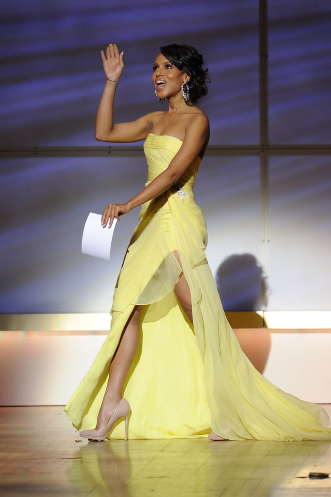 Kerry Washington flaunted  her flowing dress on stage.