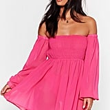 Right Shirr Off-the-Shoulder Cover-Up Dress
