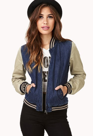 Swap out your denim jacket for this on-trend Forever 21 denim varsity jacket ($33).