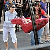 Sarah Jessica Parker enjoyed time with her daughters on the swings at the park in NYC.