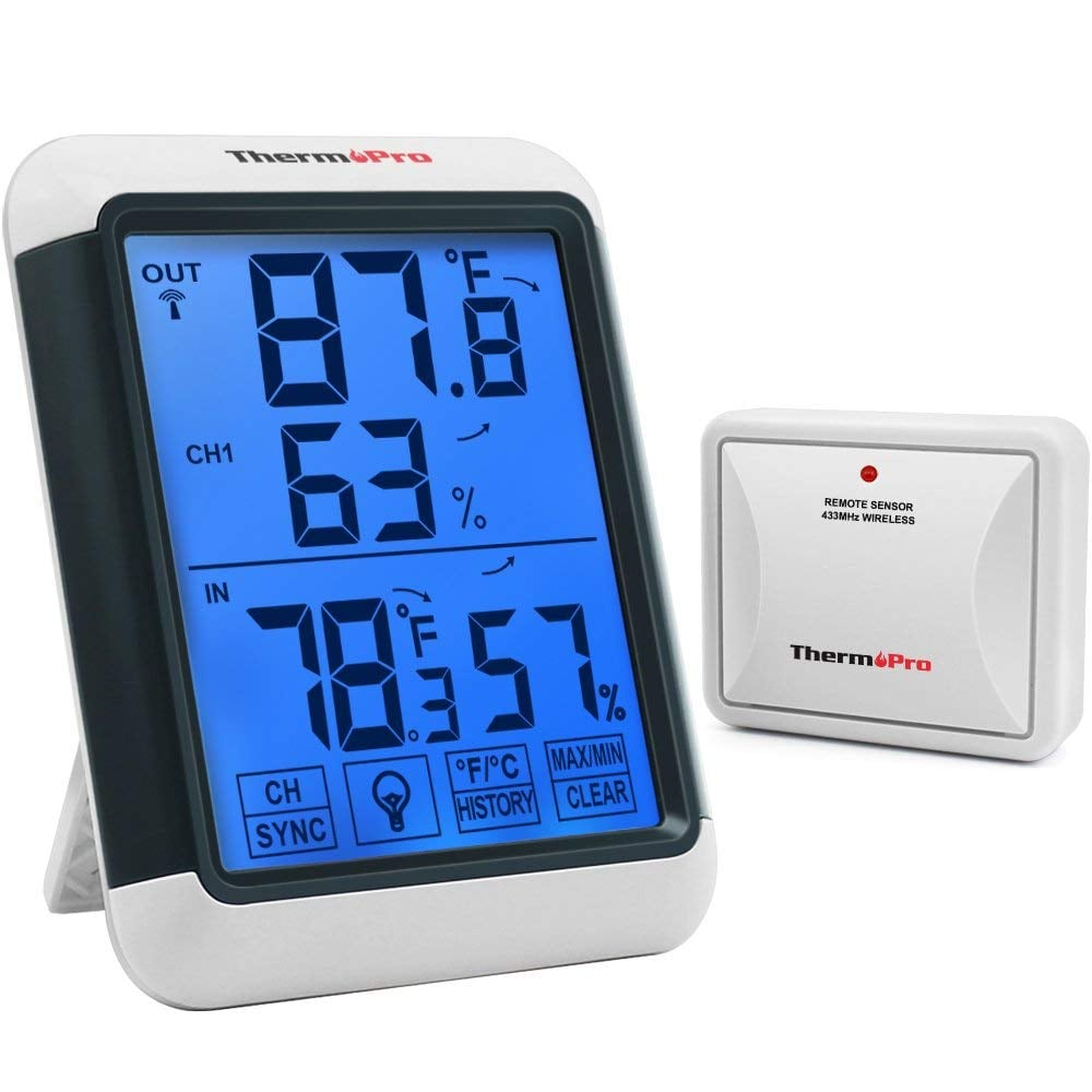 ThermoPro Digital Wireless Hygrometer Indoor Outdoor Thermometer