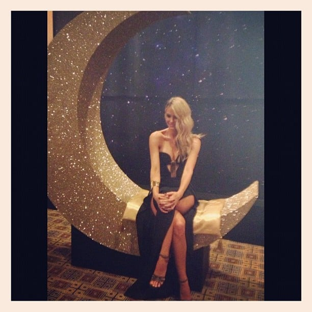 Jen Hawkins sat upon a giant moon at the Myer Ball last Saturday night. Source: Instagram user jenhawkins_