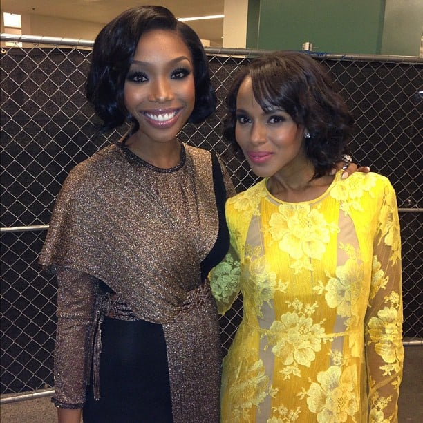 Brandy met up backstage with Kerry Washington. Source: Instagram user 4everbrandy